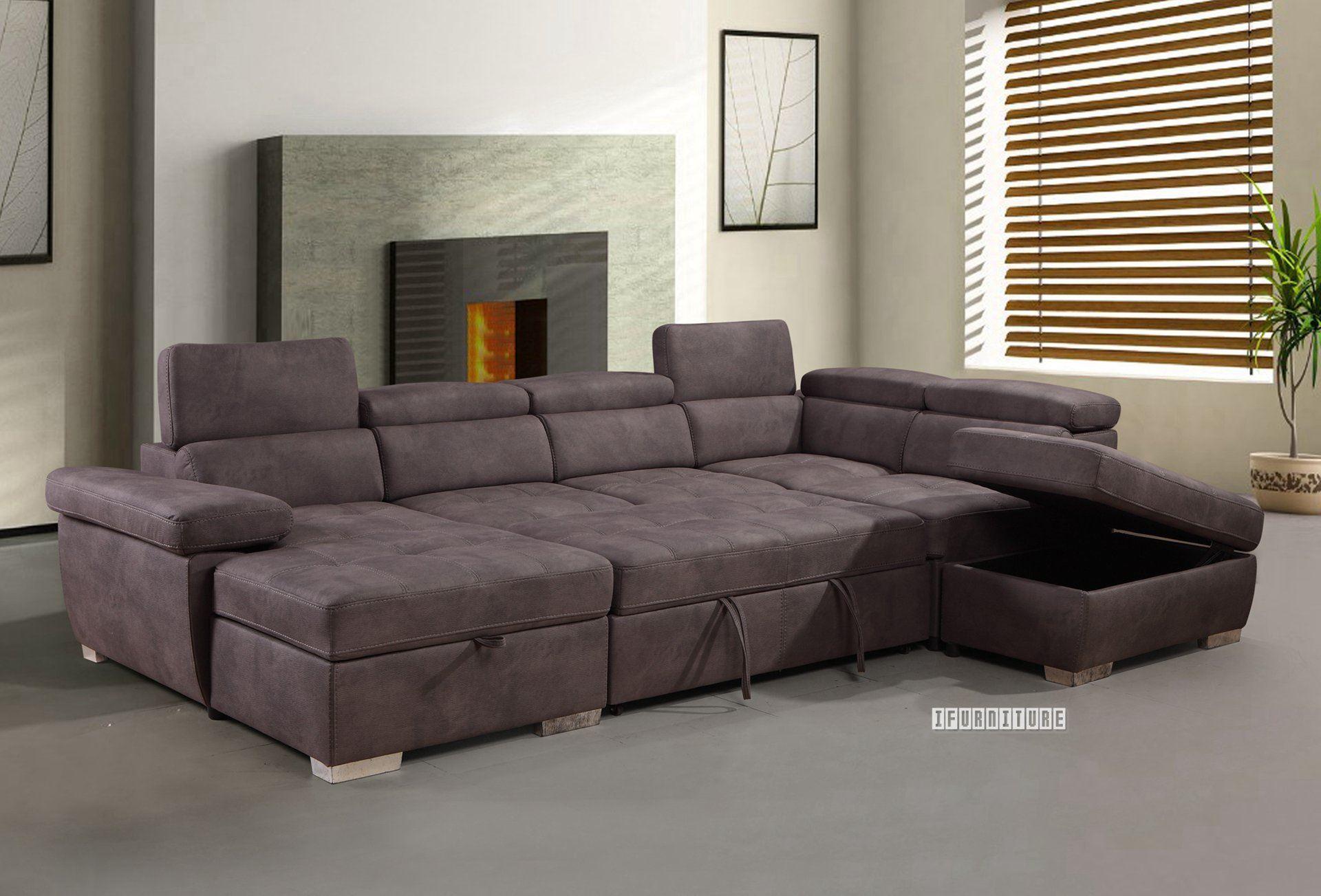 Amando Sectional Sofa/ Sofa Bed With Storage *Titanium Grey Inside Hartford Storage Sectional Futon Sofas (View 7 of 15)