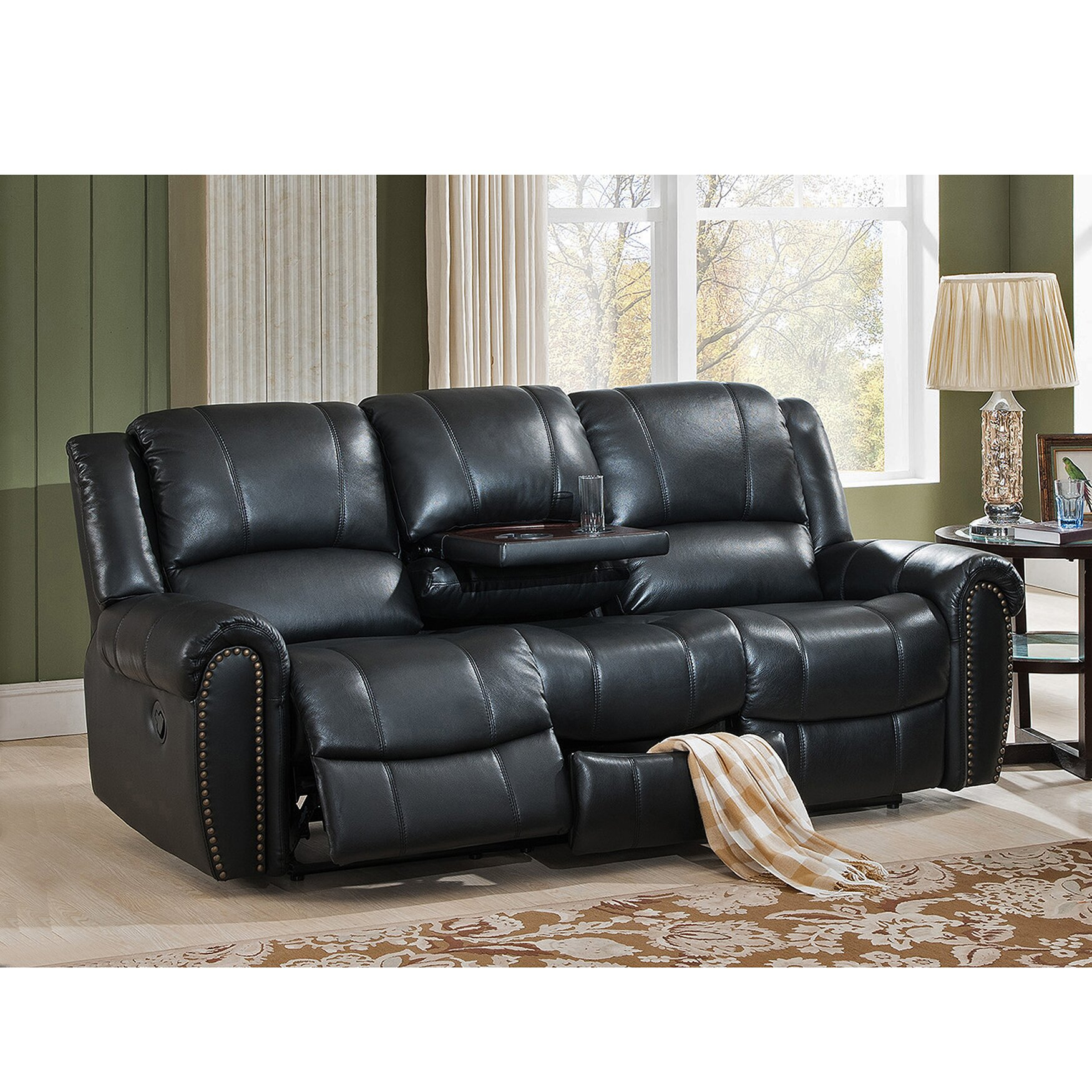 Amax Houston Leather Reclining Sofa & Reviews | Wayfair (View 13 of 15)