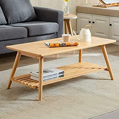 Amazon: Nnewvante Coffee Table Foldable Bamboo With Fashionable Tv Stand Coffee Table Sets (View 1 of 15)