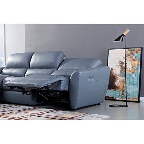 American Eagle Furniture Italian Leather Sectional In Blue With Harmon Roll Arm Sectional Sofas (View 10 of 15)