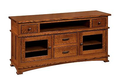 Amish Mission Kenwood Tv Stand Cabinet Solid Wood Glass Regarding Popular Tv Cabinets With Glass Doors (View 10 of 15)