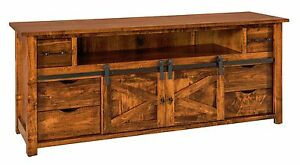 Amish Rustic Tv Stand Cabinet Solid Wood Barn Door Sliding Intended For Famous Tv Stands With Sliding Barn Door Console In Rustic Oak (View 5 of 15)