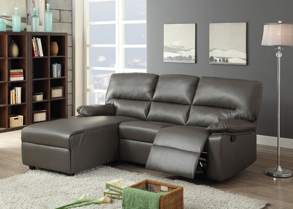 Artha Gray Bonded Leather Motion Sectional Sofa Chaise Intended For Noa Sectional Sofas With Ottoman Gray (View 3 of 15)