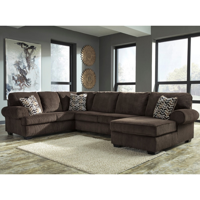 Ashley Jinllingsly 72501 3 Piece Sectional With Raf Corner Within Norfolk Chocolate 3 Piece Sectionals With Raf Chaise (View 3 of 15)