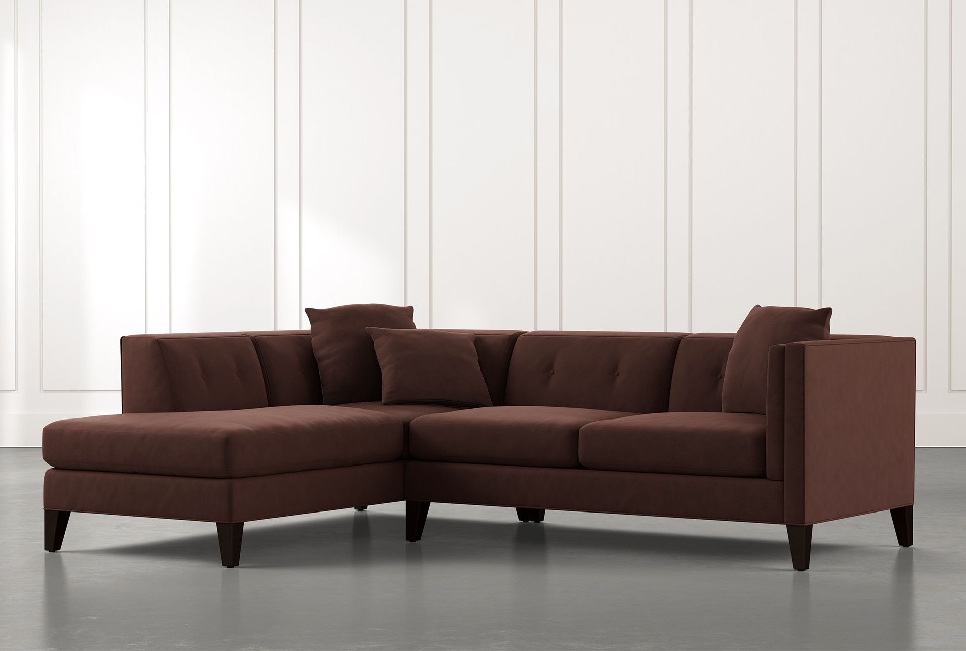 Avery Ii Brown 2 Piece Sectional With Left Arm Facing Pertaining To Avery 2 Piece Sectionals With Laf Armless Chaise (View 4 of 15)