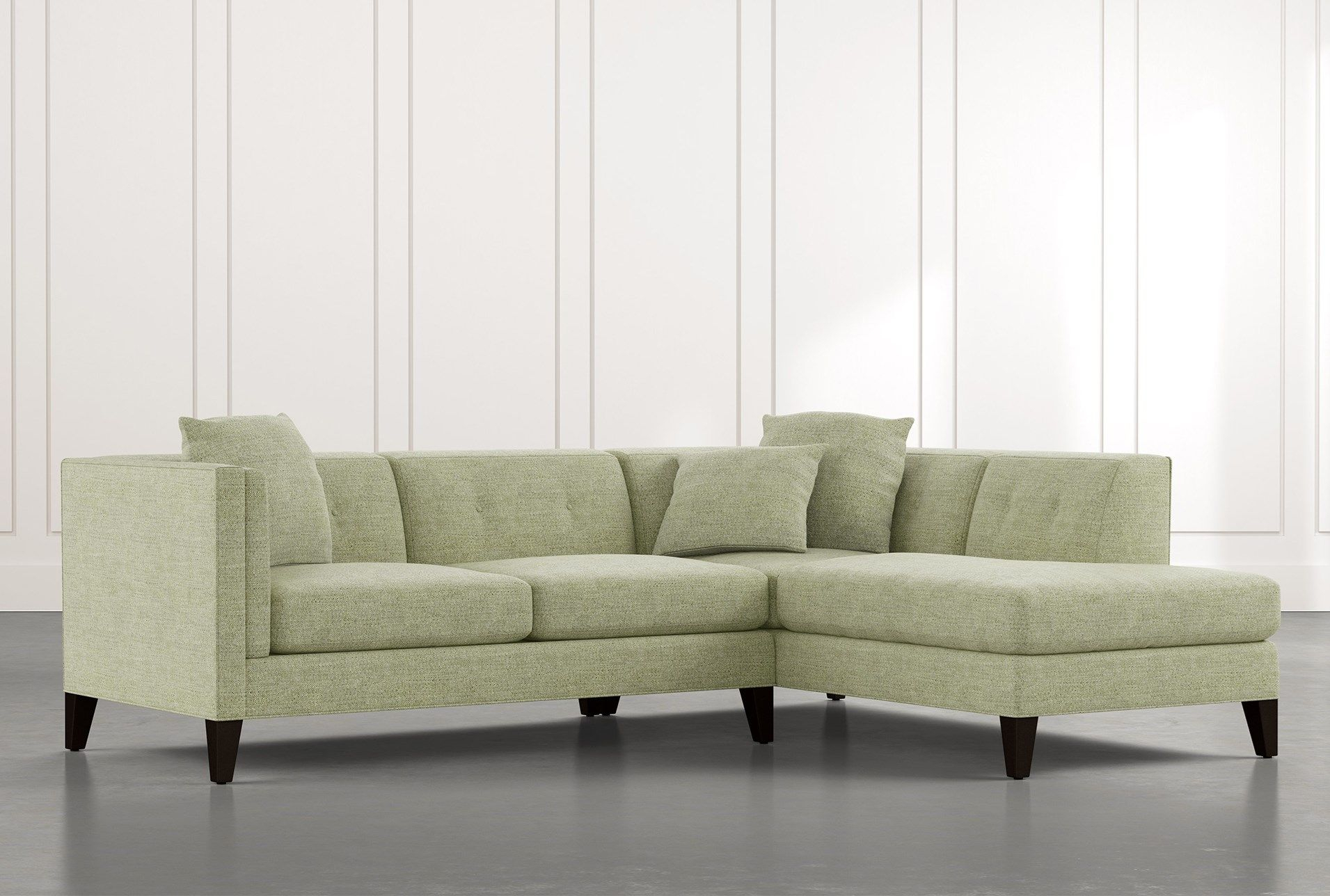 Avery Ii Green 2 Piece Sectional With Right Arm Facing With Regard To Avery 2 Piece Sectionals With Laf Armless Chaise (View 3 of 15)