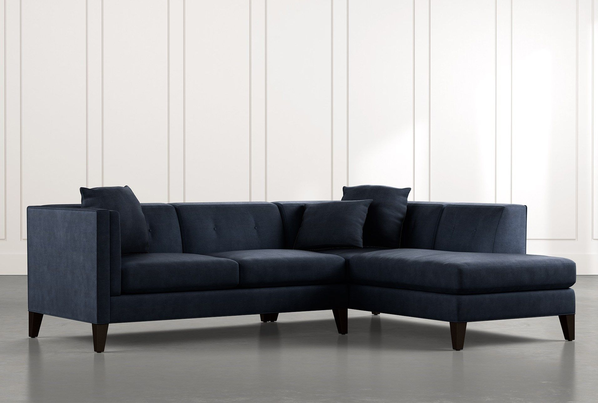 Avery Ii Navy Blue 2 Piece Sectional With Right Arm Facing With Regard To Avery 2 Piece Sectionals With Laf Armless Chaise (View 2 of 15)