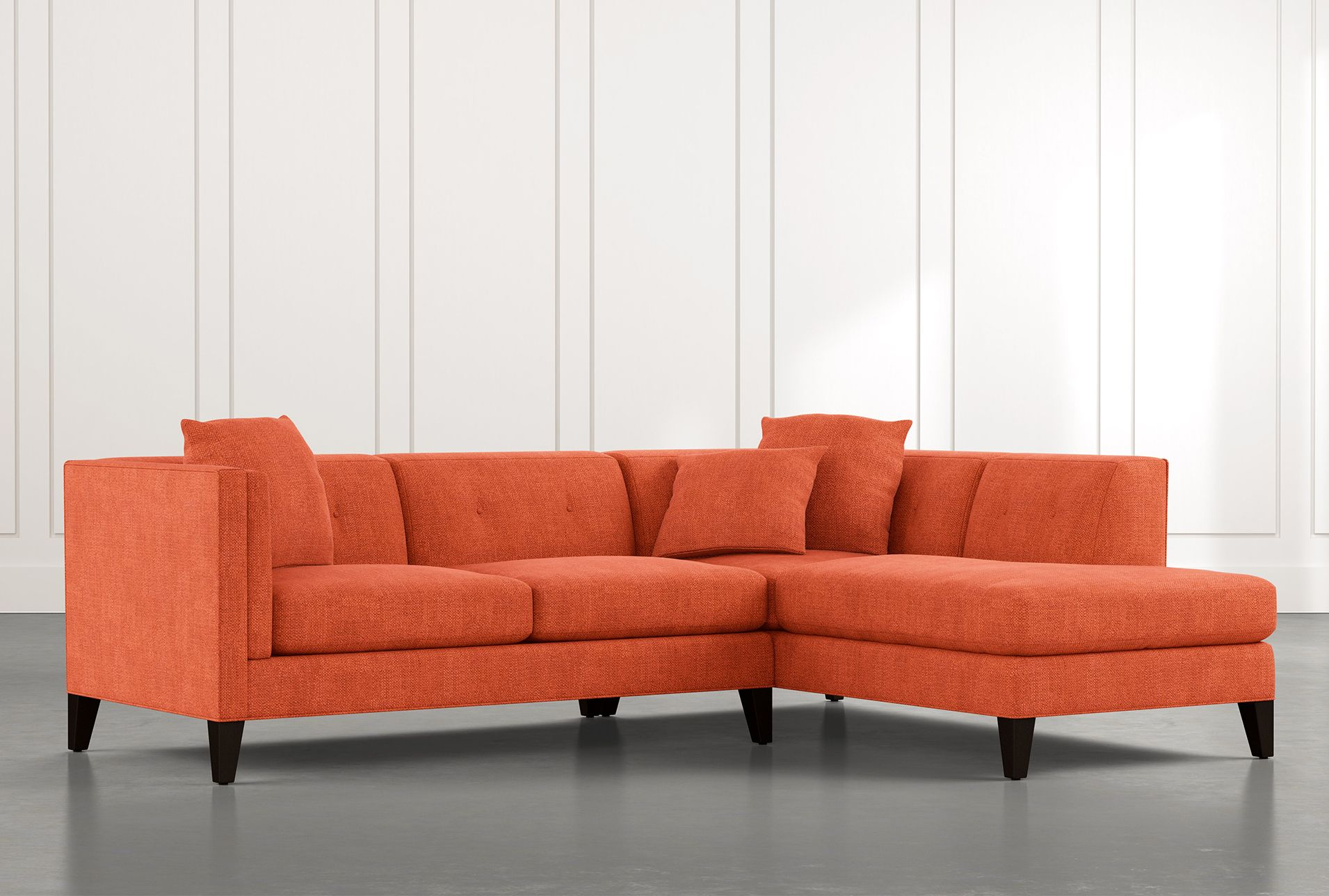 Avery Ii Orange 2 Piece Sectional Sofa With Right Arm Within Avery 2 Piece Sectionals With Raf Armless Chaise (View 1 of 15)
