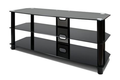 """Avista Harmoni Ii Flat Panel 60 Inch Tv Console With Glass Throughout Favorite Whalen Furniture Black Tv Stands For 65"""" Flat Panel Tvs With Tempered Glass Shelves (View 8 of 15)"""