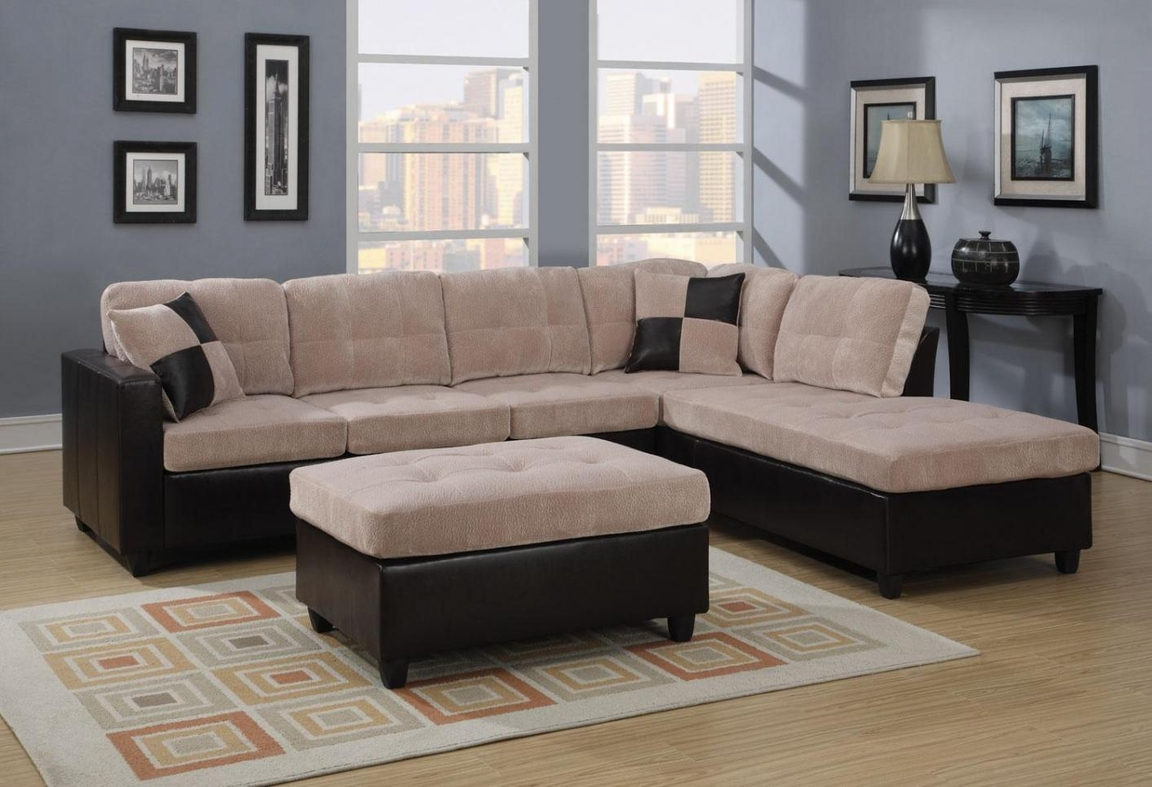 Beige Leather Sectional Sofa – Steal A Sofa Furniture Inside Los Angeles Sectional Sofas (View 2 of 15)