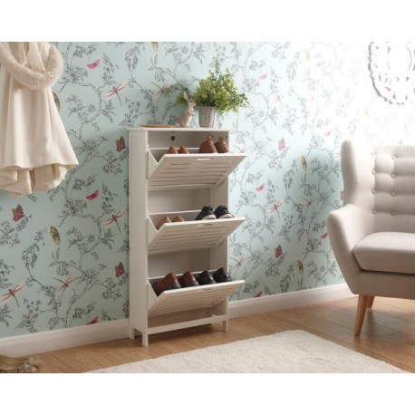 Bergen Three Tier Shoe Cabinet White – Brixton Beds With Regard To Most Current Bergen Tv Stands (View 11 of 15)
