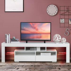 """Best And Newest 47"""" Tv Stands High Gloss Tv Cabinet With 2 Drawers For 63'' High Gloss Led Light Tv Stand Unit Console Cabinet (View 10 of 15)"""