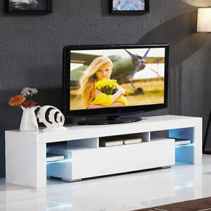 """Best And Newest 47"""" Tv Stands High Gloss Tv Cabinet With 2 Drawers Throughout 51"""" Tv Stand High Gloss White Cabinet Console Furniture W (View 2 of 15)"""