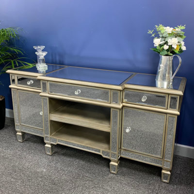 Best And Newest Fitzgerald Mirrored Tv Stands Within Canterbury Champagne Gold Mirrored Tv Stand Cabinet (View 3 of 15)