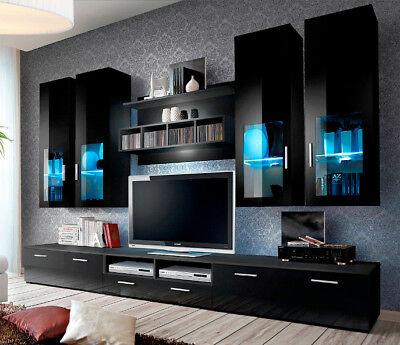 Best And Newest Milano White Tv Stands With Led Lights Intended For Presto 5 – Black Modern Entertainment Center For 65 Inch (View 3 of 15)