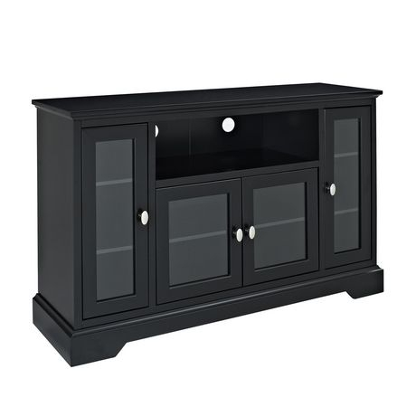 """Best And Newest Modern Black Floor Glass Tv Stands With Mount Within We Furniture 52"""" Highboy Style Black Wood Tv Stand (View 4 of 15)"""