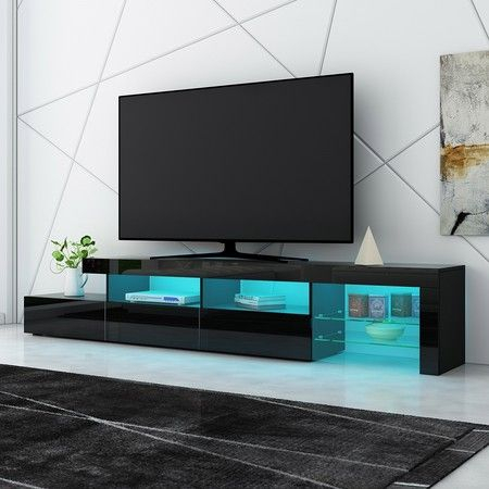 Best And Newest Zimtown Tv Stands With High Gloss Led Lights Regarding New 3 Drawer Tv Table Stand Cabinet Led Entertainment Unit (View 4 of 15)