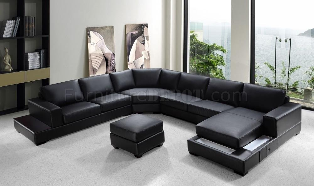 Black Bonded Leather Modern U Shape Sectional Sofa Inside Sectional Sofas With Oversized Ottoman (View 4 of 15)