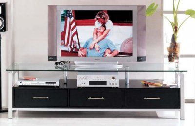 Black Color Contemporary Tv Stand With Three Drawers Pertaining To Most Recently Released Black Tv Cabinets With Drawers (View 7 of 15)