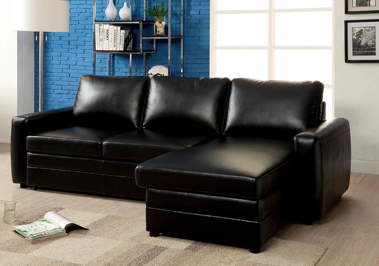 Black Convertible Sofa Bed Sectional  Umf6313 Pertaining To Hartford Storage Sectional Futon Sofas (View 11 of 15)