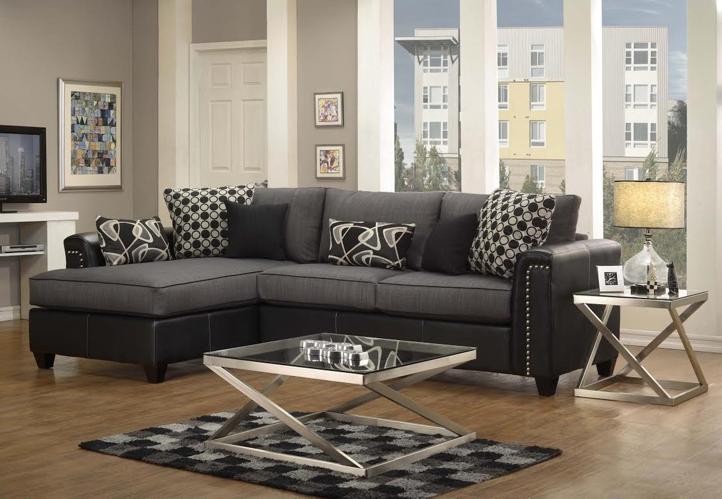 Black Fabric Sectional Sofa – Steal A Sofa Furniture For Los Angeles Sectional Sofas (View 11 of 15)