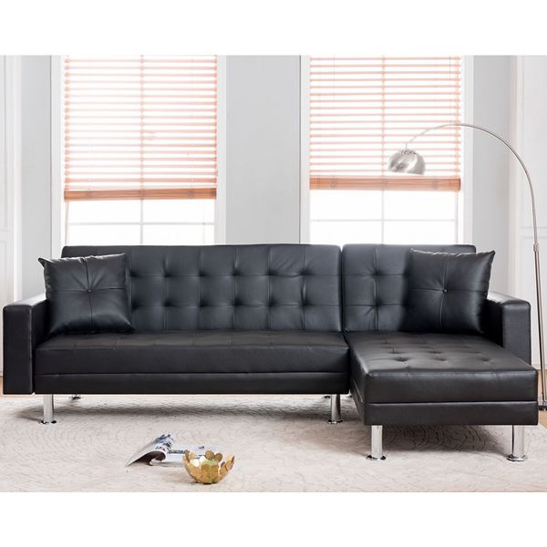Black Faux Leather Sectional Sofa Bed With Reversible Throughout Los Angeles Sectional Sofas (View 15 of 15)