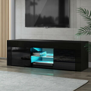 Black Gloss Tv Stand Entertainment Cabinet Unit Rgb Led Inside Most Current Single Shelf Tv Stands (View 13 of 15)