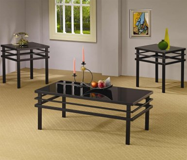 Black Metal Base & Glass Top Modern 3Pc Coffee Table Set Inside 2018 Modern Black Tv Stands On Wheels With Metal Cart (View 11 of 15)