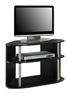 Black Tv Stand Wooden Entertainment Storage Cabinet Corner With Most Current Dillon Black Tv Unit Stands (View 3 of 15)