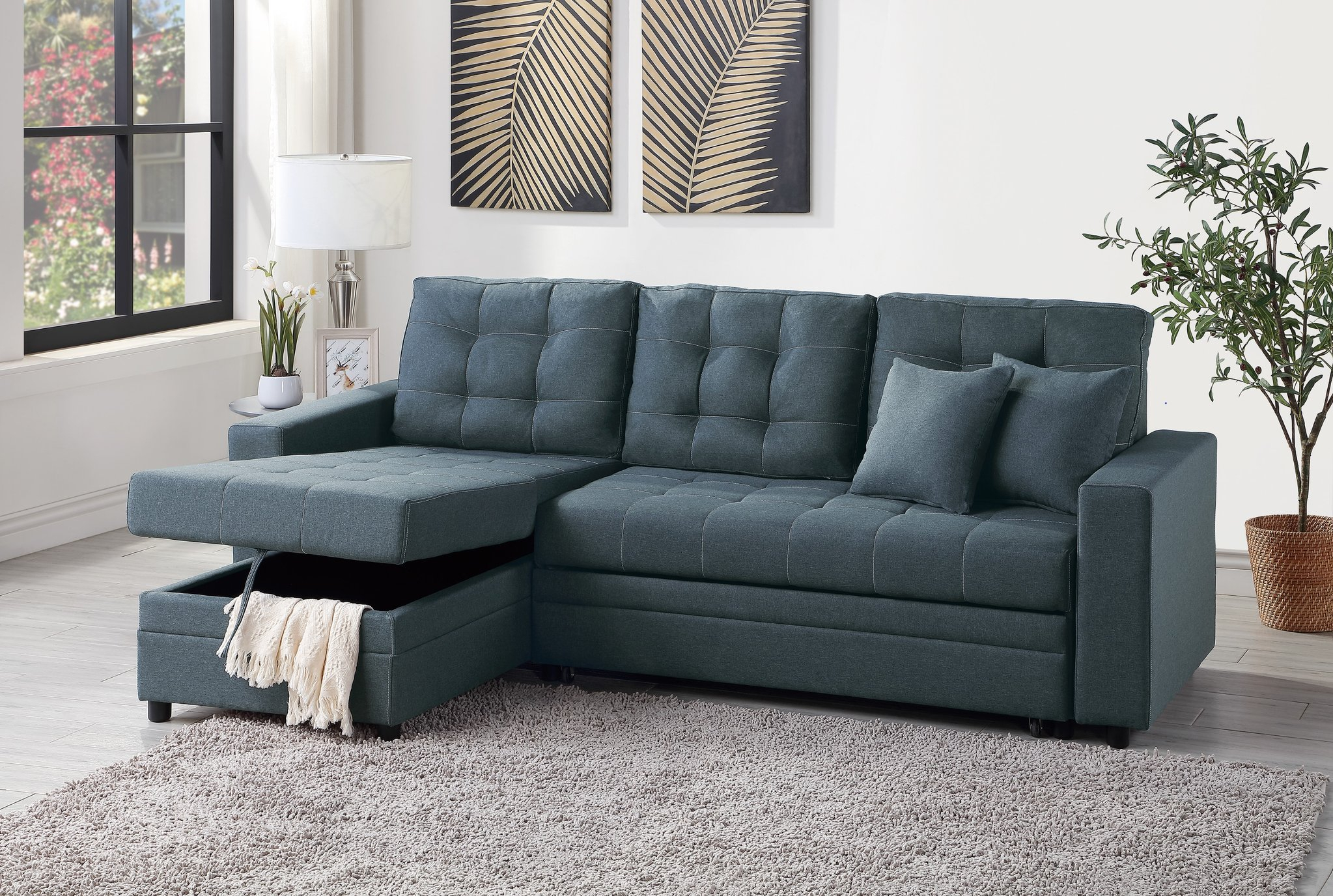 Blue Grey Convertible Pullout Bed Sofa Sectional + Storage Intended For Sectional Sofas With Storage (View 2 of 15)