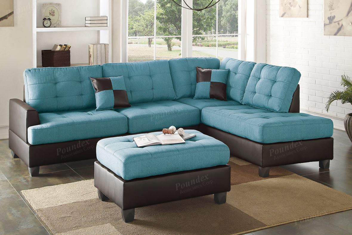 Blue Leather Sectional Sofa And Ottoman – Steal A Sofa Within Noa Sectional Sofas With Ottoman Gray (View 5 of 15)