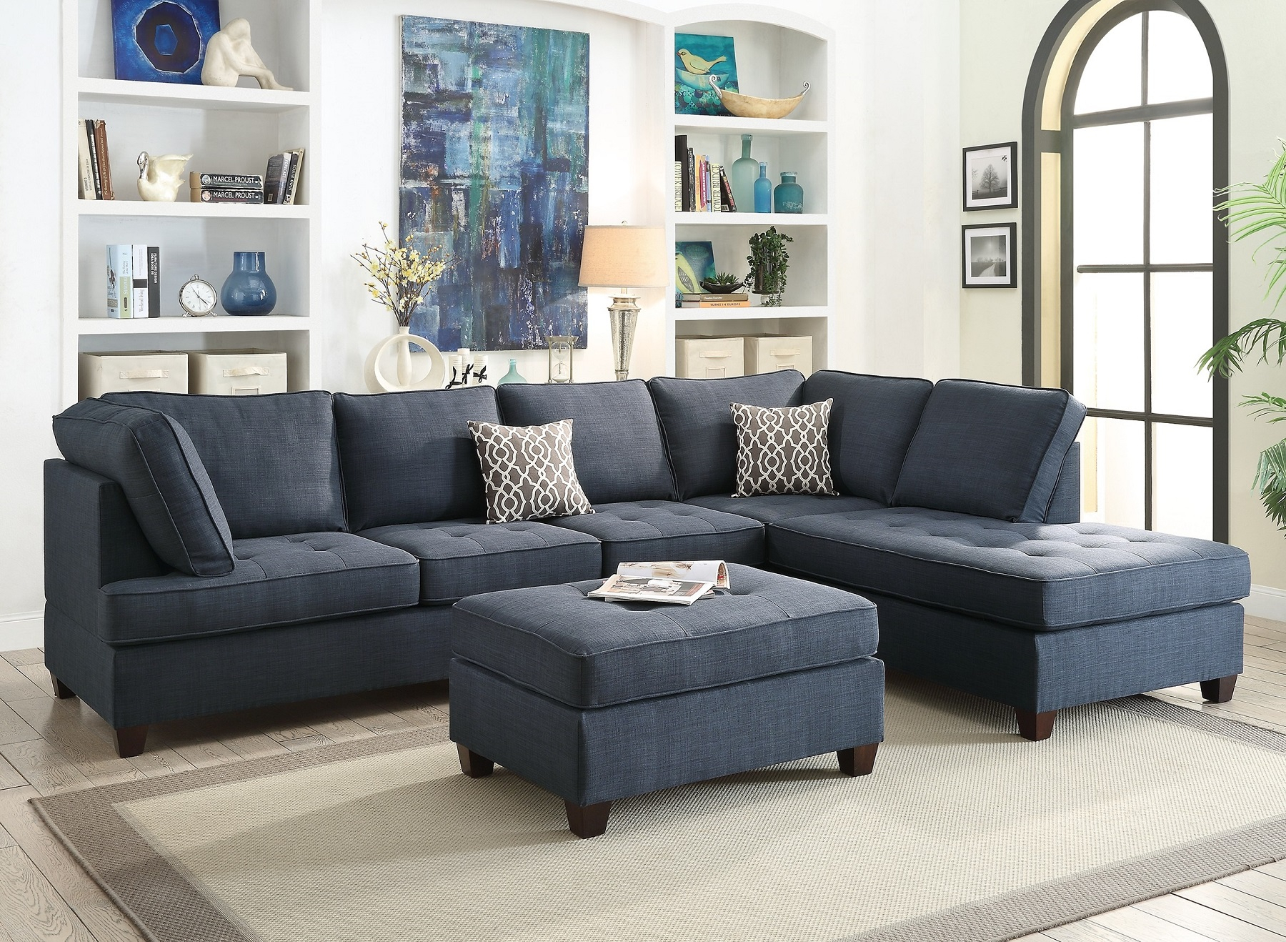 Blue Sectional Sofa Chaise Poundex #F6989 | Hot Sectionals For 4Pc Crowningshield Contemporary Chaise Sectional Sofas (View 5 of 15)