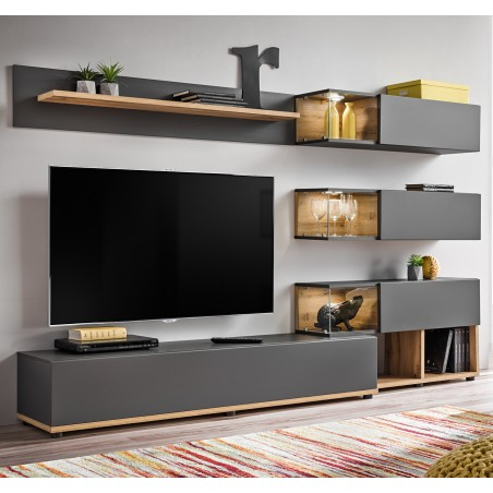 Bmf Silk I Wall Unit 240Cm Wide Tv Stand Shelves Cabinets Throughout Well Known Single Shelf Tv Stands (View 12 of 15)