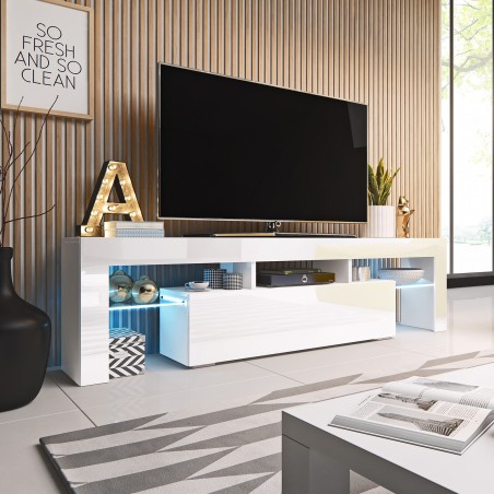 Bmf Toro Tv Stand 158Cm Wide White High Gloss Led Lights Inside Most Up To Date Indi Wide Tv Stands (View 9 of 15)