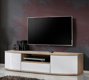 Bmf Toronto Tv Stand 150Cm Curved High Gloss Fronts With Regard To Well Known 57'' Led Tv Stands With Rgb Led Light And Glass Shelves (View 3 of 15)