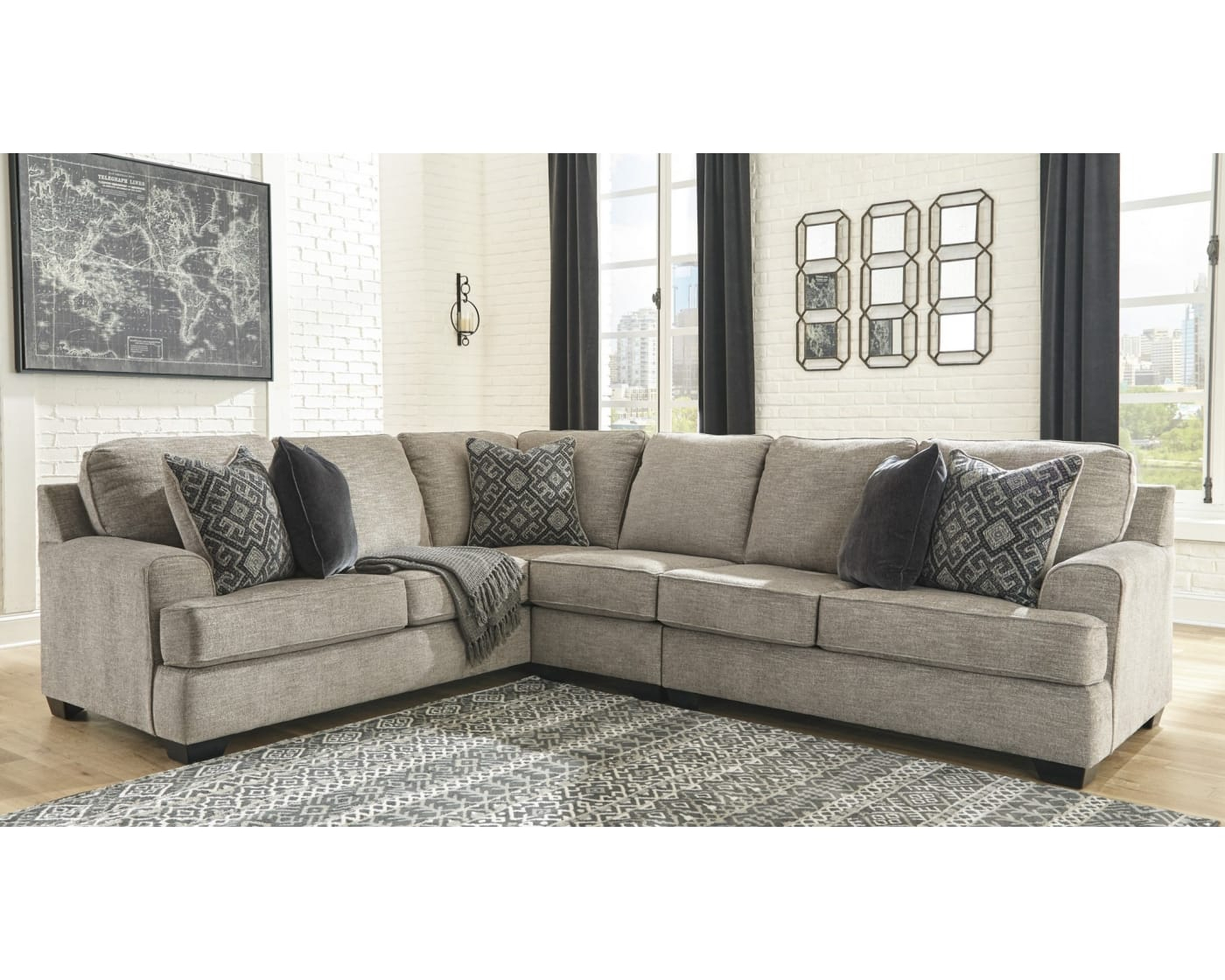 Bovarian Stone 3 Piece Right Facing Sectional Sofa With Dulce Right Sectional Sofas Twill Stone (View 5 of 15)