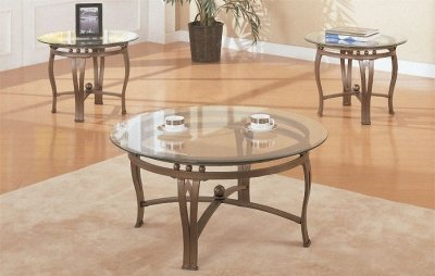 Bronze Metal Frame Contemporary 3Pc Coffee Table Set With Preferred Tv Stand Coffee Table Sets (View 15 of 15)