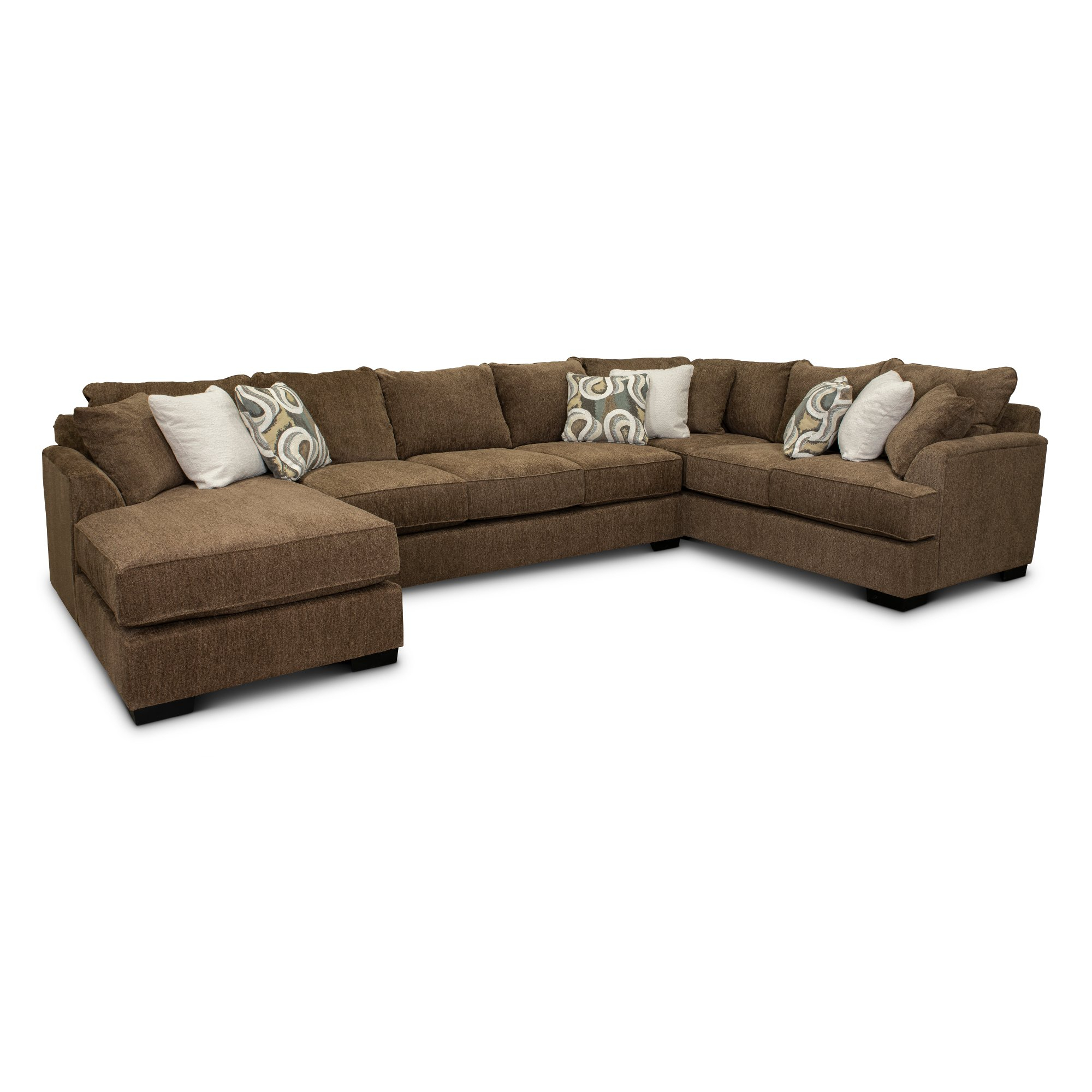 Brown 3 Piece Sectional Sofa With Laf Chaise – Tranquility Inside Norfolk Grey 3 Piece Sectionals With Laf Chaise (View 1 of 15)