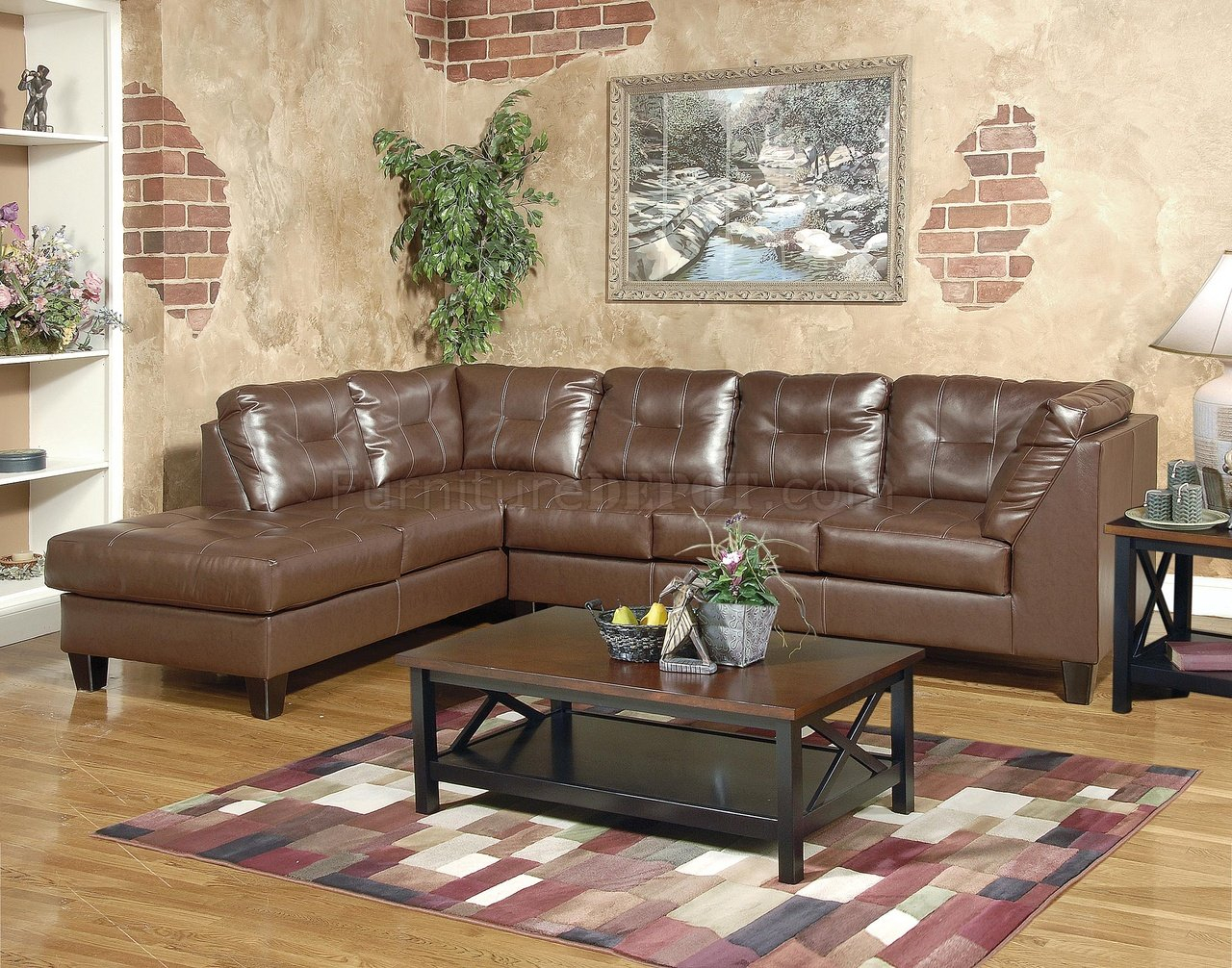 Brown Bonded Leather Modern Sectional Sofa W/Tufted Seats Intended For Sectional Sofas With Oversized Ottoman (View 7 of 15)