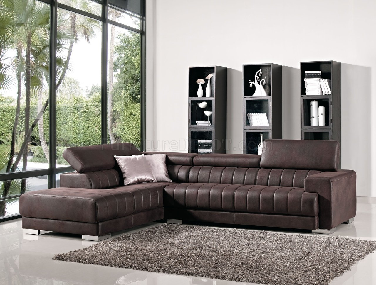 Brown Fabric Modern Sectional Sofa W/Adjustable Headrest Within Sectional Sofas (View 14 of 15)