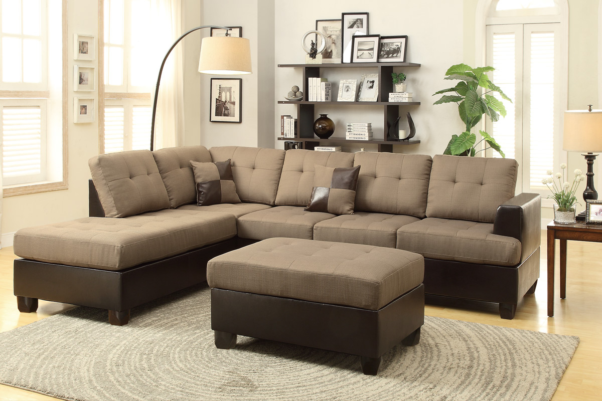 Brown Leather Sectional Sofa And Ottoman – Steal A Sofa Inside Los Angeles Sectional Sofas (View 9 of 15)
