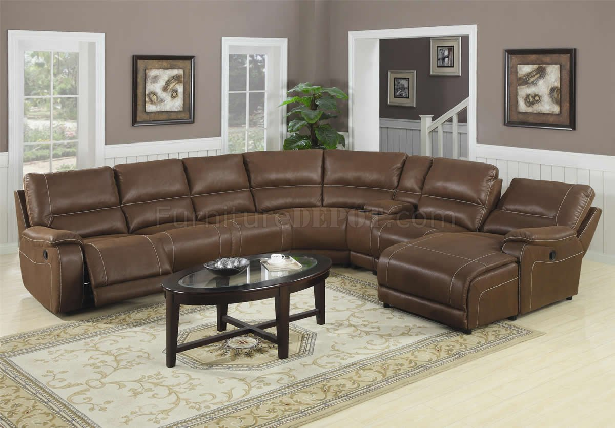 Brown Suede Like Padded Microfiber Reclining Sectional Sofa In Sectional Sofas (View 15 of 15)