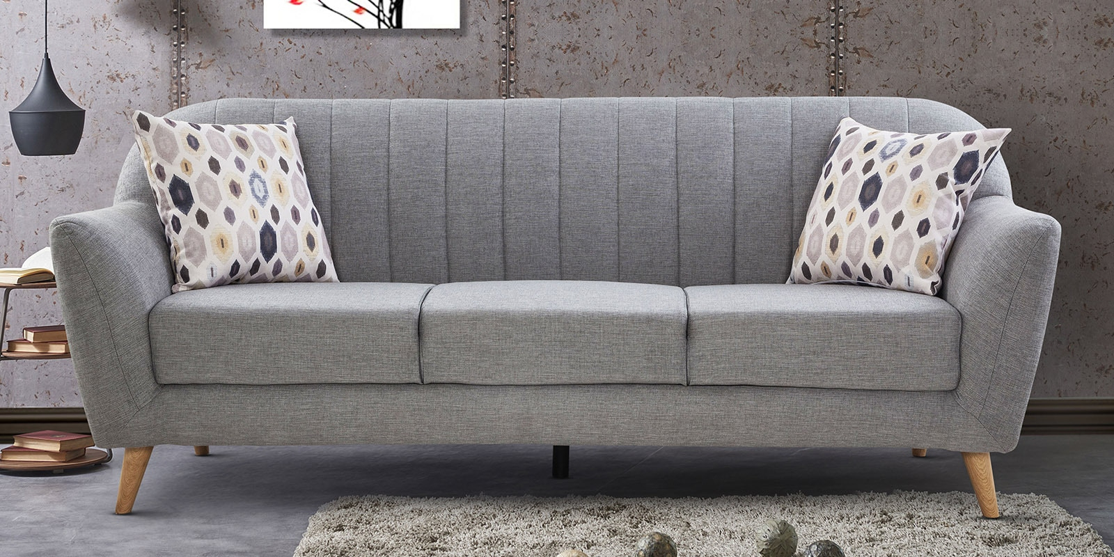 Buy Antalya 3 Seater Sofa In Grey Coloururban Living Intended For Ludovic Contemporary Sofas Light Gray (View 7 of 15)