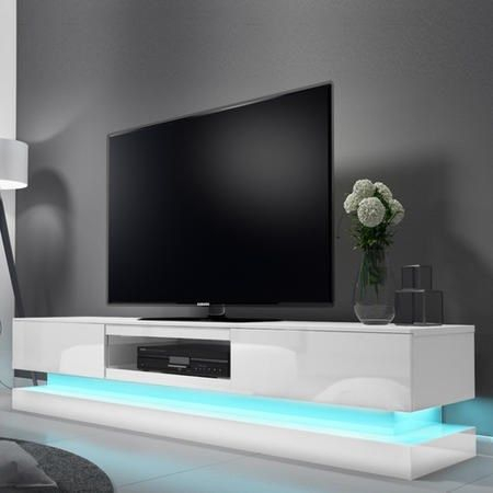 Buy Evoque Led White High Gloss Tv Unit With Lower Within Favorite Zimtown Tv Stands With High Gloss Led Lights (View 2 of 15)