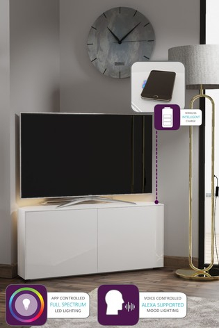 Buy Frank Olsen Smart Led White Corner Tv Cabinet From The Intended For Most Recent Milano White Tv Stands With Led Lights (View 9 of 15)