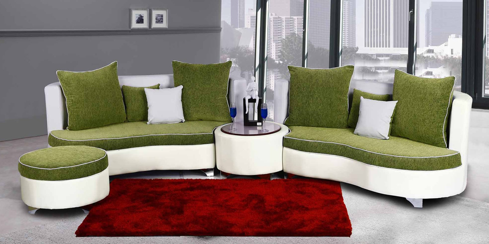 Buy Rio Sectional Sofa In Green Colourhome City Online For Green Sectional Sofas (View 3 of 15)