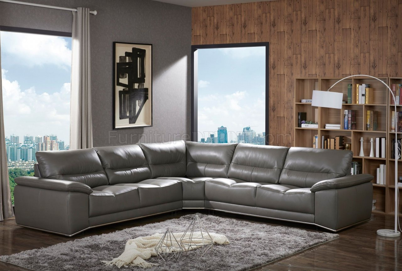Cagliari Sectional Sofa In Grey Premium Leatherj&M Pertaining To Noa Sectional Sofas With Ottoman Gray (View 14 of 15)