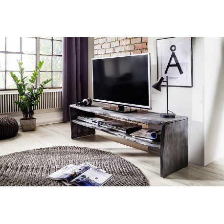 Calabria Grey Acacia Wood Tv Unit – Furnitureroom Within 2018 Modern Black Tv Stands On Wheels With Metal Cart (View 4 of 15)