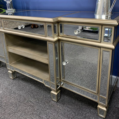Canterbury Champagne Gold Mirrored Tv Stand Cabinet For Most Recent Fitzgerald Mirrored Tv Stands (View 9 of 15)