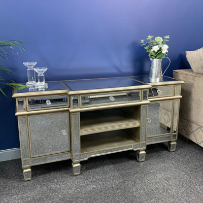 Canterbury Champagne Gold Mirrored Tv Stand Cabinet Inside Popular Fitzgerald Mirrored Tv Stands (View 5 of 15)